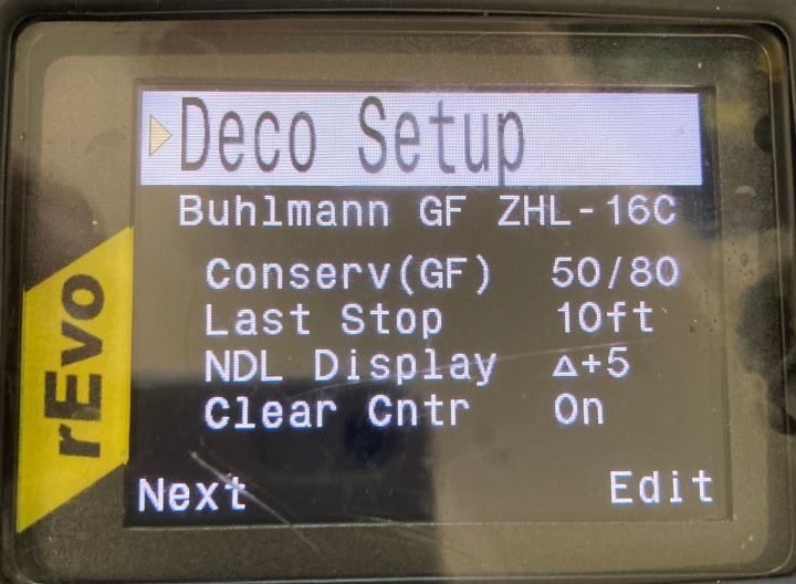 Shearwater computer settings for a CCRdive