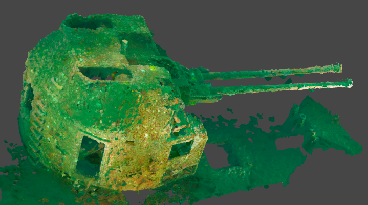 HMCS Yukon Guns Photogrammetry Model (San Diego, 105fsw)